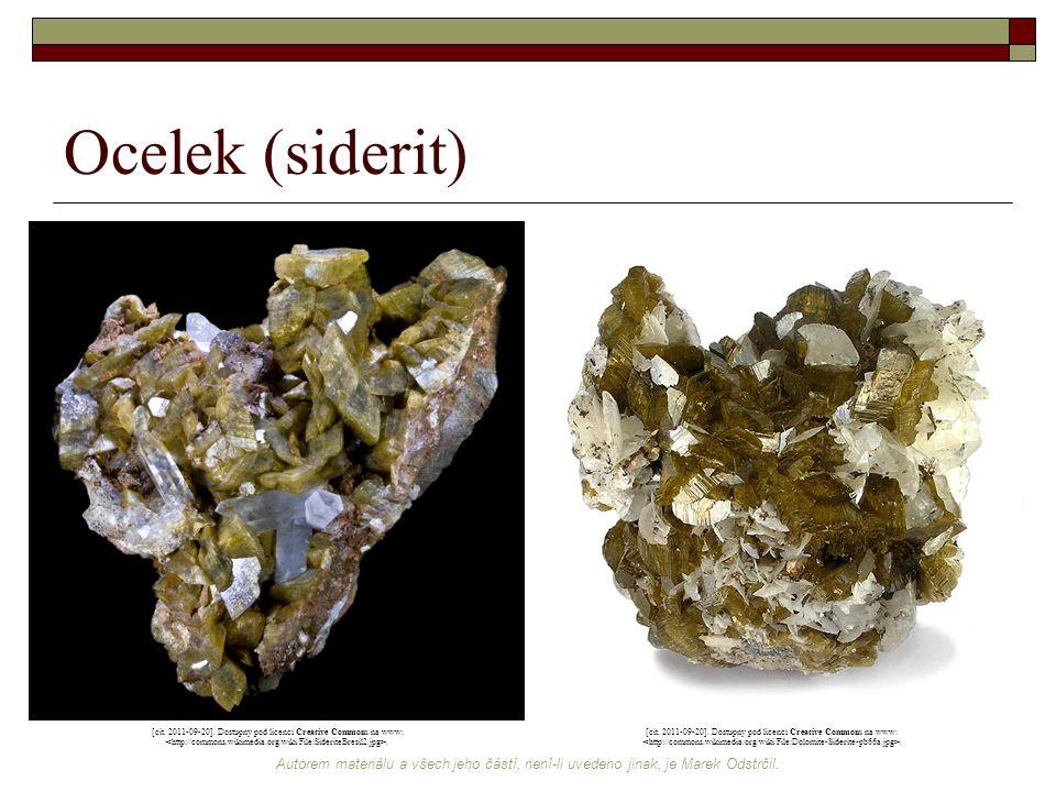 Ocelek (siderit) [cit. 2011-09-20]. Dostupný pod licencí Creative Commons na www: <http://commons.wikimedia.org/wiki/File:SideriteBresil2.jpg>.